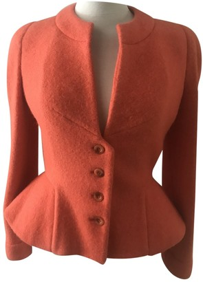 Herve Leger Orange Wool Jacket for Women Vintage