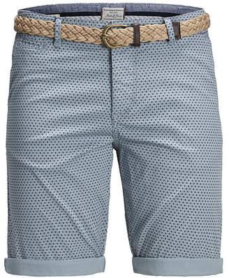 Jack and Jones Men Summer Chino Printed Shorts with Belt