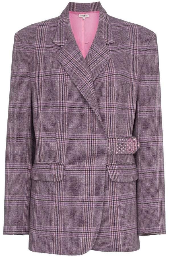 Natasha Zinko check crystal embellished wool blend blazer