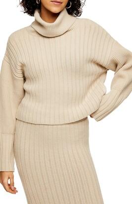 Topshop Turn Back Crop Turtleneck Sweater