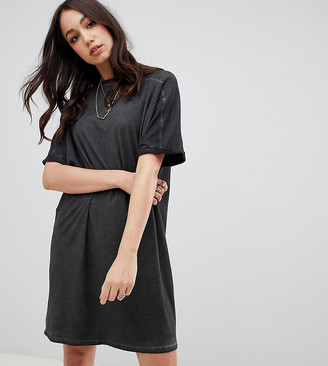 Asos Tall DESIGN Tall t-shirt dress with rolled sleeves and wash-Black