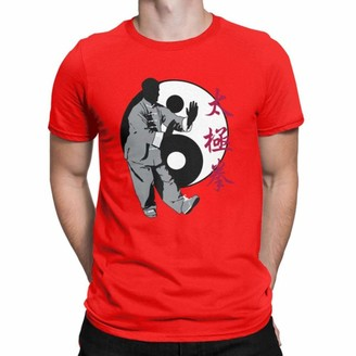 Kaiyuan Men T-Shirt Tai Chi Chuan Pa-KUA Yin Yang Tshirt Short Sleeve T Shirt Clothing Plus Size Funny Cotton Tee Shirt-Red L