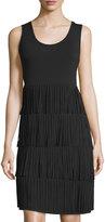 Neiman Marcus Sleeveless Fringed Dress, Black