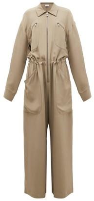 Raey Oversized Silk-morocain Jumpsuit - Womens - Grey