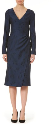 Carolina Herrera Floral Jacquard Side Drape Wool Sheath Dress