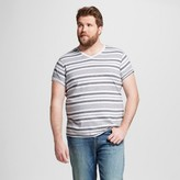 Mossimo Men's Big & Tall V-Neck Large Stripe T-Shirt with Pocket Cast Iron Gray