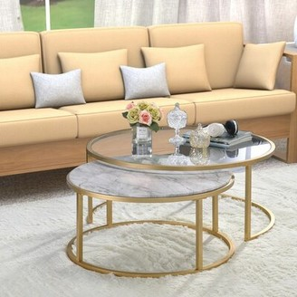 Everly Quinn Kellan 2 Piece Coffee Table Set with Tray Top