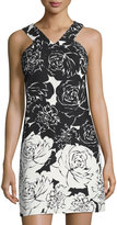 Taylor Floral-Print Stretch-Cotton Shift Dress, Black/White