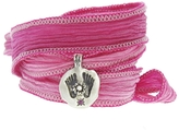 Catherine Michiels Buddha's Feet Pink Sapphire Silver Charm & Silk Bracelet Wrap