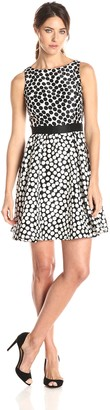 Julian Taylor Women's Sleeveless Polka Dot Fit and Flare Dress