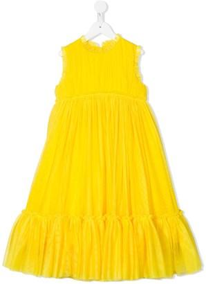 Charabia Tulle Ruffled-Hem Dress