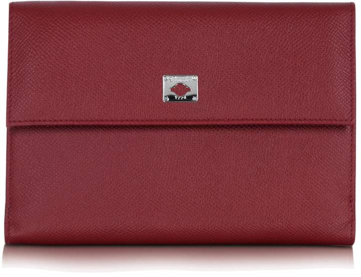 Pineider City Chic Burgundy Leather French Purse Wallet