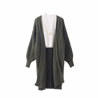 HanPaint Autumn Long Female Cardigans Latern Sleeve Casual Knitted Poncho Sweaters Oversized Long Cardigans HF1100 Army Green One Size