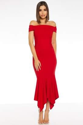 Quiz Red Bardot Midi Dress