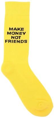 Make Money Not Friends Logo Intarsia Techno Blend Knit Socks