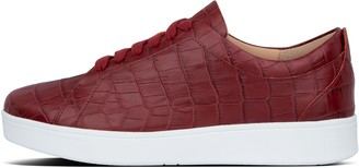 FitFlop Rally Croc-Embossed Leather Sneakers