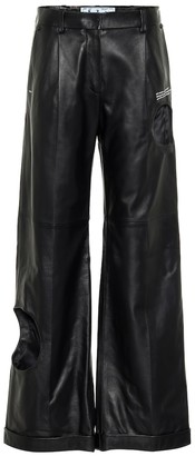Off-White Cut-out wide-leg leather pants