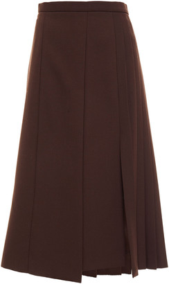 Joseph Pleated Crepe Midi Skirt
