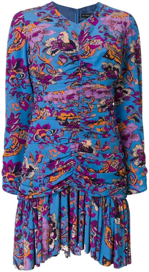 Etro ruched floral mini dress