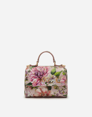 Dolce & Gabbana Leather Handbag With Floral Print