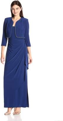 Alex Evenings Women's Ruched Dress Withrhinestone Trim Bolero Jacket
