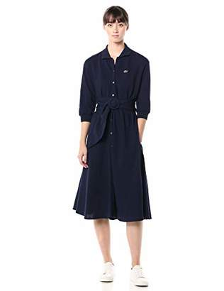 Lacoste Womens Long Sleeve Belted Supple Pique Belted Shirt Dress Casual Dress