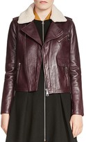 Maje Bluff Fur-Collar Moto Jacket