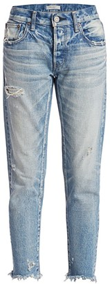 Moussy Kelley Mid-Rise Tapered Ankle Distressed Jeans