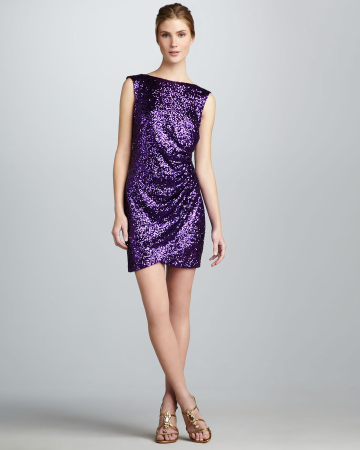 Ali Ro Ruched Low-Back Sequined Dress