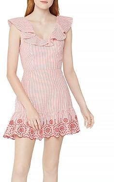 BCBGeneration Embroidered Cotton Seersucker Dress