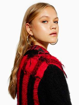 Topshop Lumberjack Check Knitted Jumper - Red