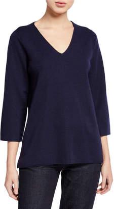 Eileen Fisher Petite V-Neck 3/4-Sleeve Merino Wool Top