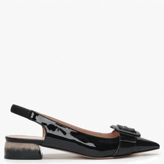 Daniel Napley Black Patent Leather Low Block Heel Sling Backs
