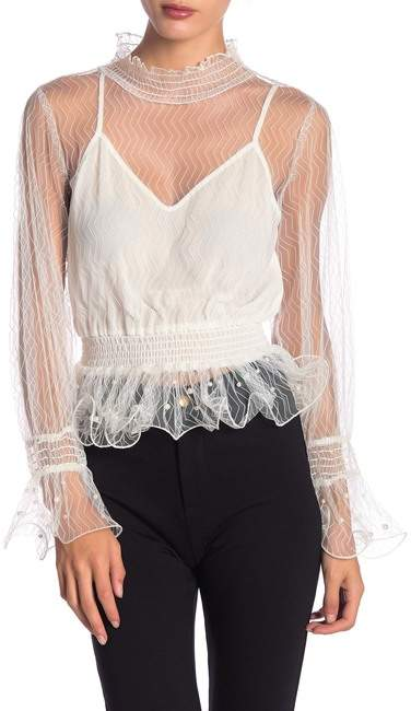 1ccc0a799e64 Embellished Mesh Top - ShopStyle