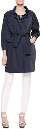 Armani Collezioni Long Belted Tech Fabric Coat, Navy