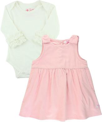 RuffleButts Girl's Ballet Pink Corduroy Dress w/ Ruffle Bodysuit, Size 0-24M