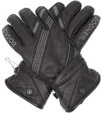 Bogner Sanna Glitter-thread Fleece-lined Leather Gloves - Womens - Black
