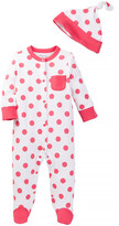 Offspring Raspberry Dot Footie (Baby Girls)