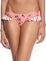 MinkPink Mink Pink Floral-Print Bikini Swim Bottom, Coral/Blue Multi