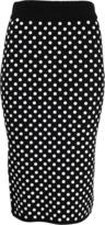 Michael Kors Embroidered Polka Dot Knit Skirt