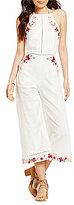 Lucy Paris Terra Halter Embroidered Cropped Jumpsuit