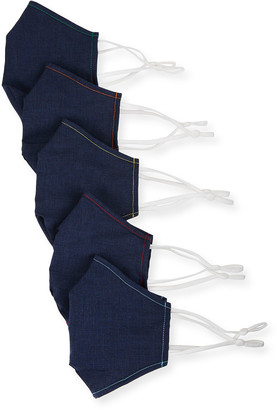 Neiman Marcus Men's 5-Pack Chambray Mask Face Covering