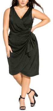 City Chic Trendy Plus Size Satin Ruffled Wrap Dress