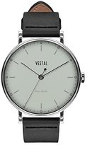 Vestal 'Sophisticate' Swiss Quartz Stainless Steel and Leather Dress Watch, Color:Black (Model: SPH3L06)