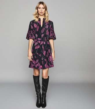 Reiss MARSALI FEATHER PRINTED MINI DRESS Pink