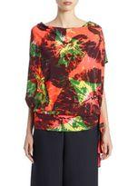 Issey Miyake Alocasia-Print Short-Sleeve Jersey Top