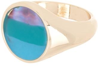 Halogen Resin Inlay Signet Ring