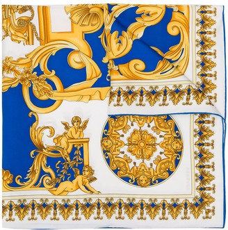 Versace Barocco-print silk scarf