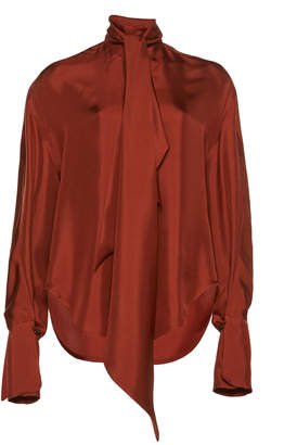 Petar Petrov Connor Scarf-Detailed Silk Blouse