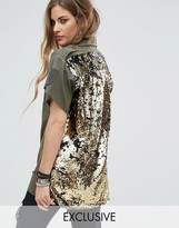 Reclaimed Vintage Revived Military Short Sleeve Shirt With Sequin Back